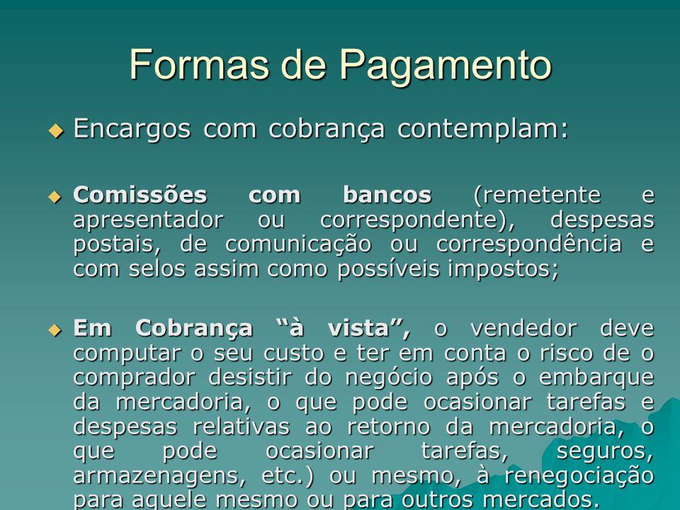 Formas de Pagamento  Encargos com cobrança contemplam:  Comissões com bancos (remetente e apresentador ou correspondente), despesas postais, de comu