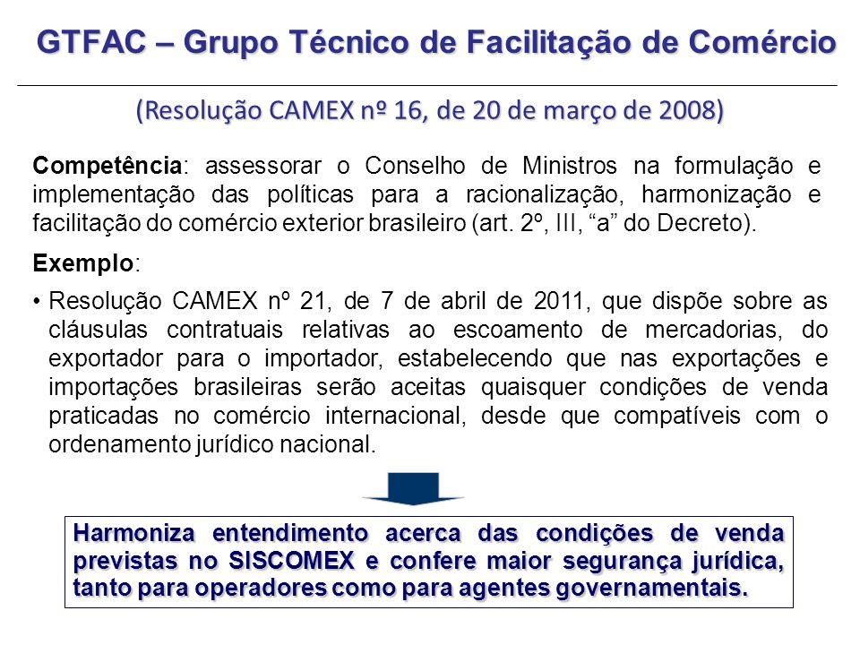 GTFAC – Grupo Técnico de Facilitação de Comércio (Resolução CAMEX nº 16, de 20 de março de 2008) Competência: assessorar o Conselho de Ministros na fo