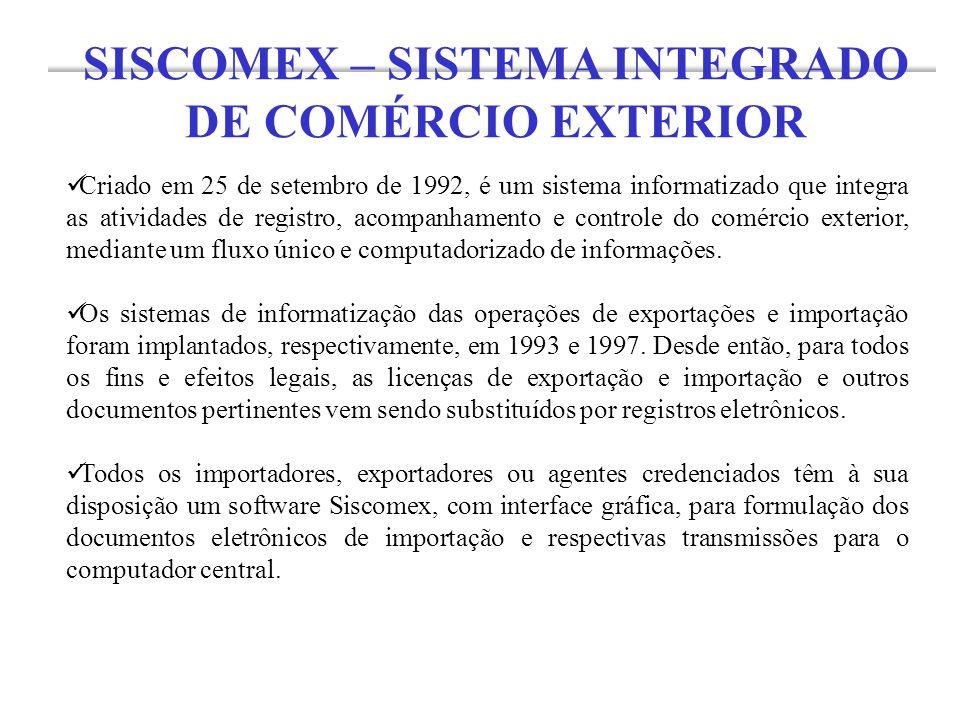 Criado em 25 de setembro de 1992, é um sistema informatizado que integra as atividades de registro, acompanhamento e controle do comércio exterior, me