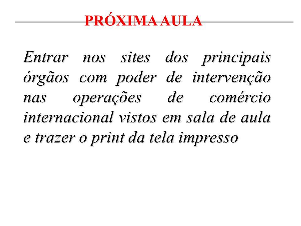 PRÓXIMA AULA Entrar nos sites dos principais órgãos com poder de intervenção nas operações de comércio internacional vistos em sala de aula e trazer o print da tela impresso