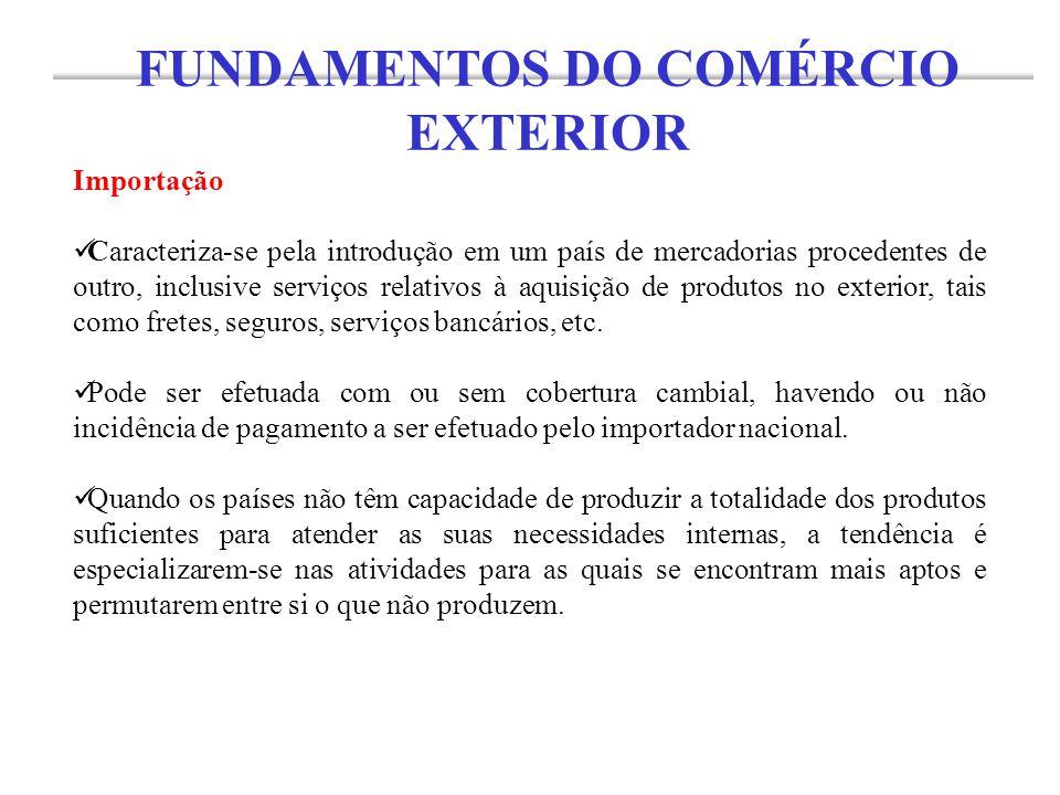 Importação Caracteriza-se pela introdução em um país de mercadorias procedentes de outro, inclusive serviços relativos à aquisição de produtos no exte