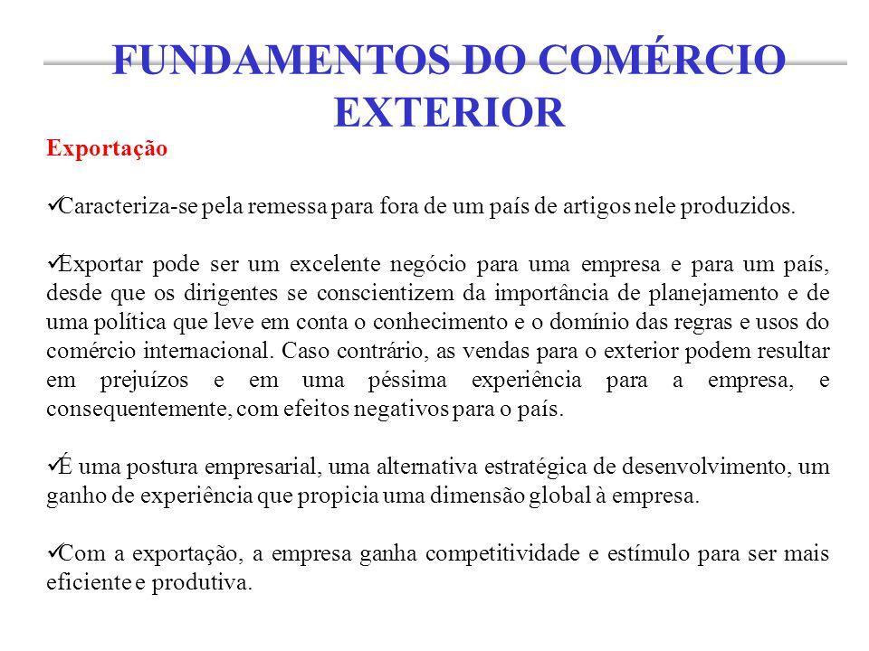 Exportação Caracteriza-se pela remessa para fora de um país de artigos nele produzidos. Exportar pode ser um excelente negócio para uma empresa e para