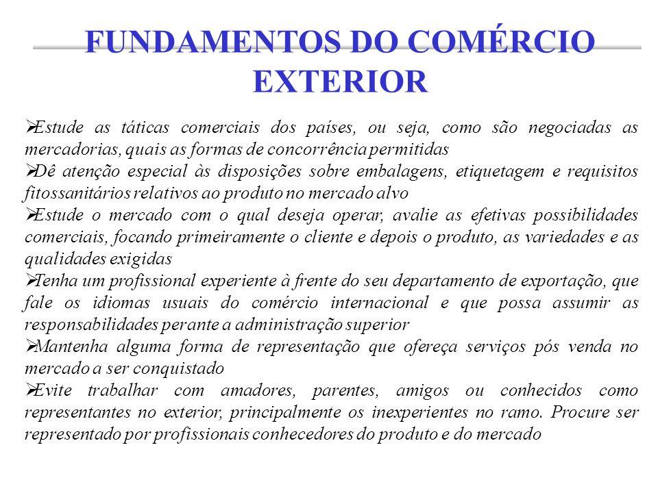  Estude as táticas comerciais dos países, ou seja, como são negociadas as mercadorias, quais as formas de concorrência permitidas  Dê atenção especi