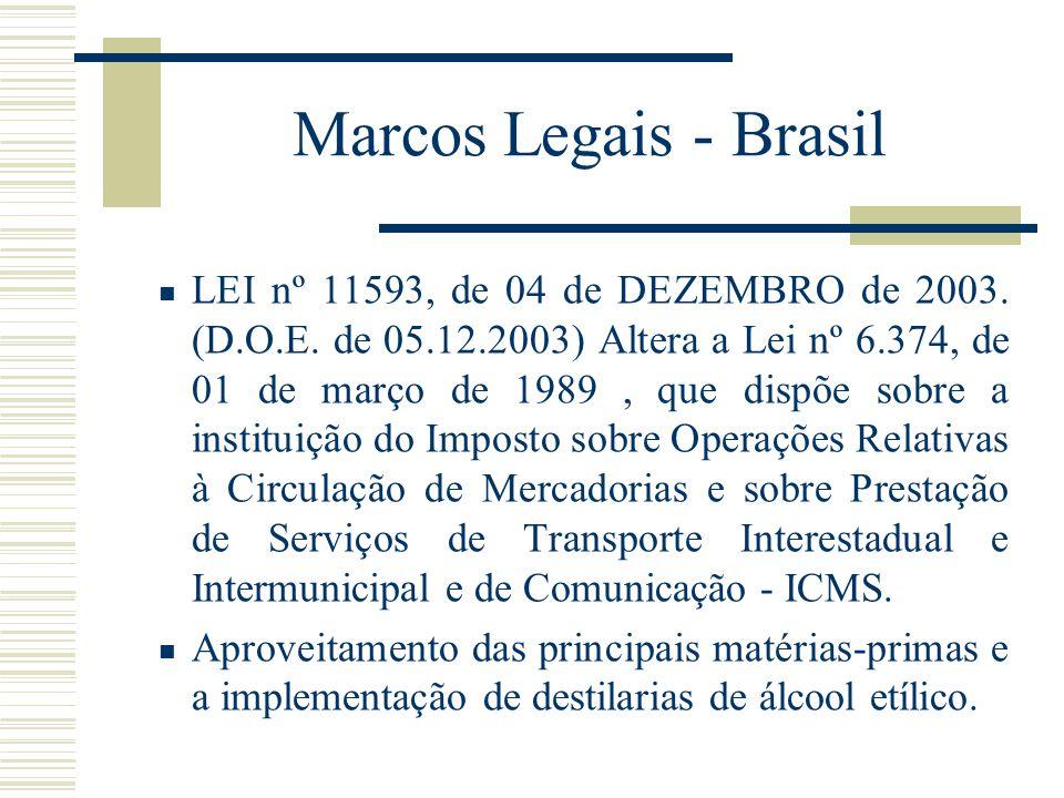 Marcos Legais - Brasil LEI nº 11593, de 04 de DEZEMBRO de 2003. (D.O.E. de 05.12.2003) Altera a Lei nº 6.374, de 01 de março de 1989, que dispõe sobre
