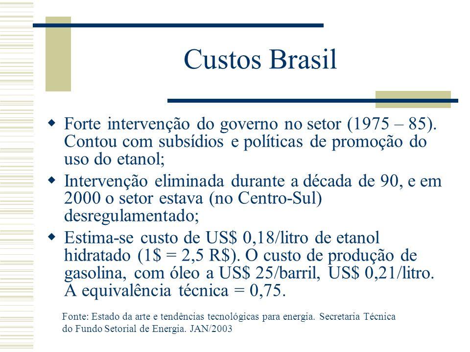 Custos Brasil  Forte intervenção do governo no setor (1975 – 85). Contou com subsídios e políticas de promoção do uso do etanol;  Intervenção elimin