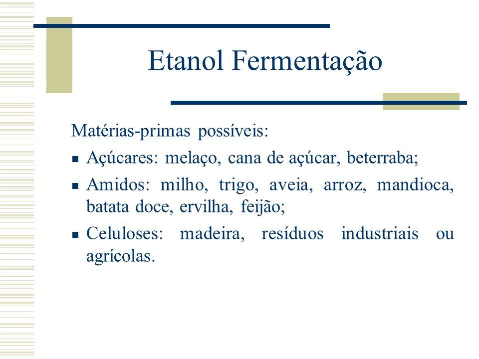 Etanol Fermentação Matérias-primas possíveis: Açúcares: melaço, cana de açúcar, beterraba; Amidos: milho, trigo, aveia, arroz, mandioca, batata doce,