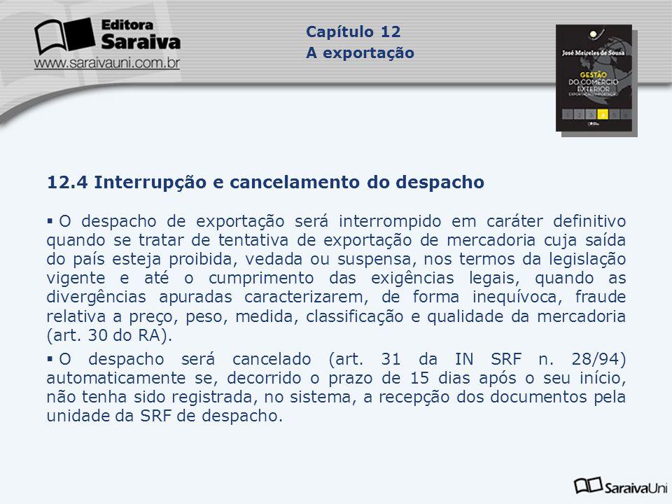 12.4 Interrupção e cancelamento do despacho  O despacho de exportação será interrompido em caráter definitivo quando se tratar de tentativa de export