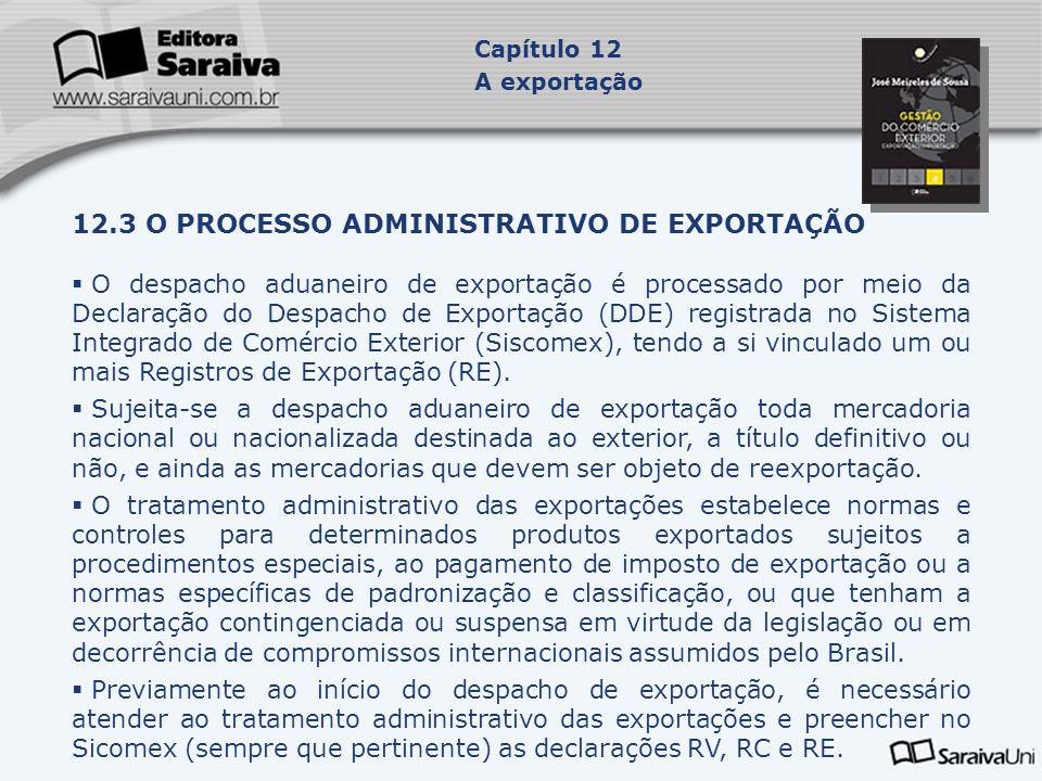 12.3.1 O início do despacho  O despacho inicia-se com o registro da Declaração do Despacho de Exportação (DDE) no Siscomex, em que o exportador informa quais mercadorias pretende exportar e os registros de Exportação (RE) já efetivados.