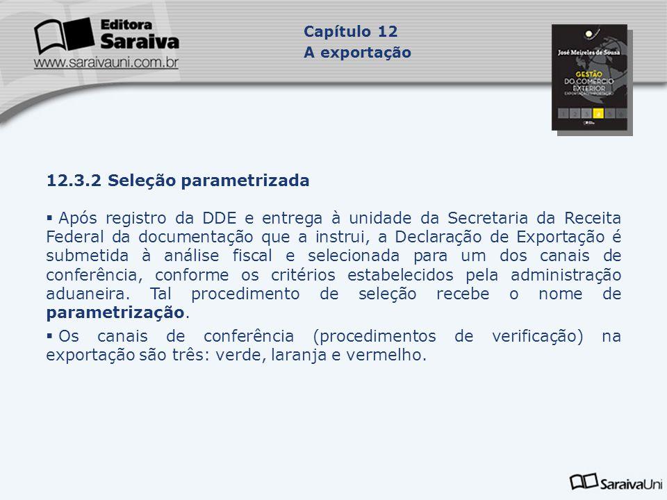 12.3.2 Seleção parametrizada  Após registro da DDE e entrega à unidade da Secretaria da Receita Federal da documentação que a instrui, a Declaração d