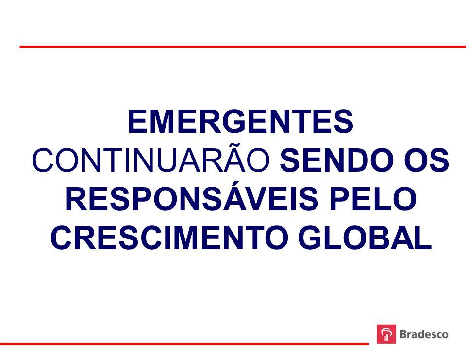 PIB TRIMESTRAL DESENVOLVIDOS X EMERGENTES – MÉDIA MÓVEL 4 TRIMESTRES 2000-2011 FONTE: BLOOMBERG ELABORAÇÃO: BRADESCO