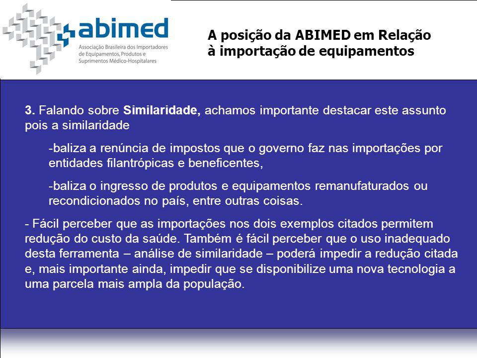 A posição da ABIMED em Relação à importação de equipamentos 3.