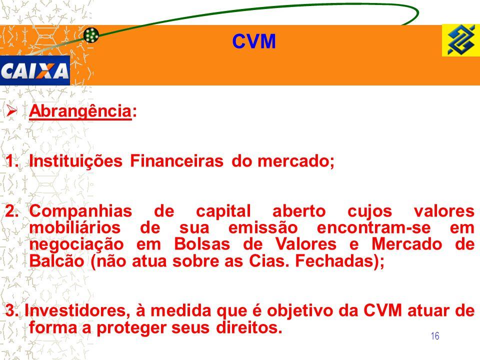 16  Abrangência: 1.Instituições Financeiras do mercado; 2.Companhias de capital aberto cujos valores mobiliários de sua emissão encontram-se em negoc