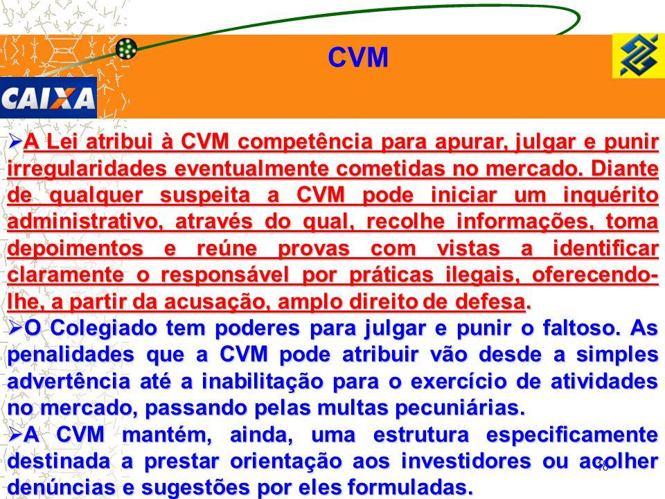 18 CVM  A Lei atribui à CVM competência para apurar, julgar e punir irregularidades eventualmente cometidas no mercado. Diante de qualquer suspeita a