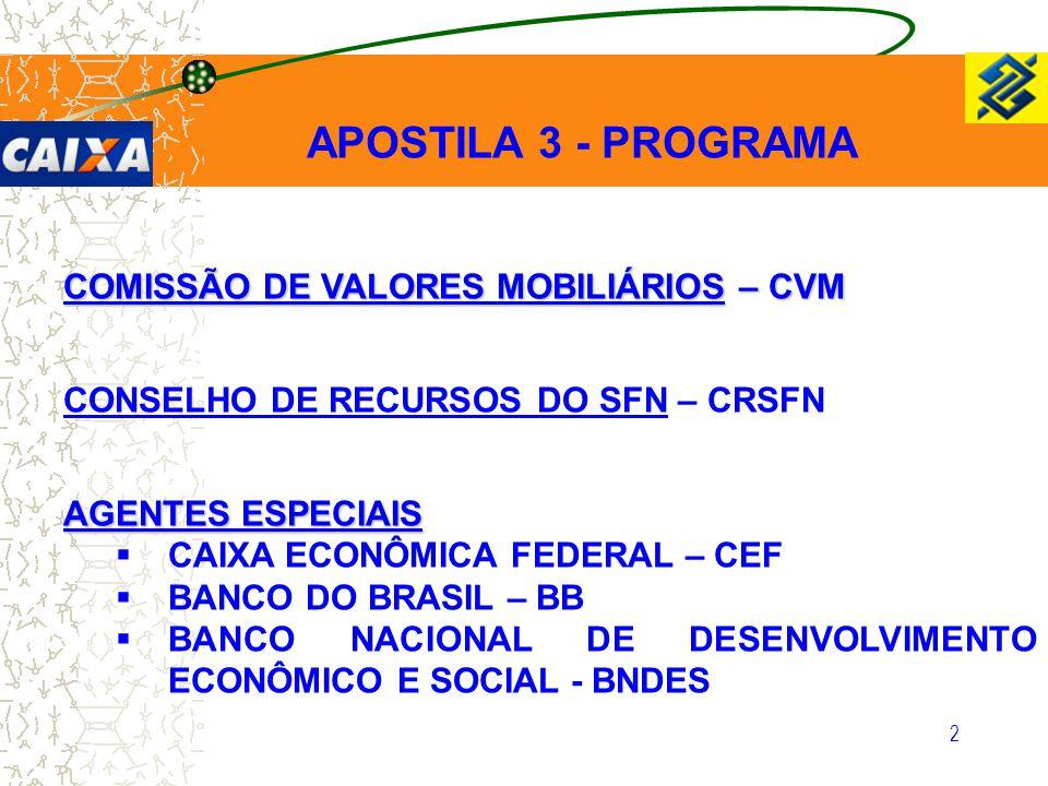 3 CVM COMISSÃO DE VALORES MOBILIÁRIOS  A CVM é uma Autarquia Federal, vinculada ao Ministério da Fazenda.