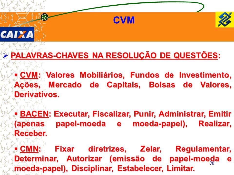 20 CVM  PALAVRAS-CHAVES NA RESOLUÇÃO DE QUESTÕES:  CVM: Valores Mobiliários, Fundos de Investimento, Ações, Mercado de Capitais, Bolsas de Valores,