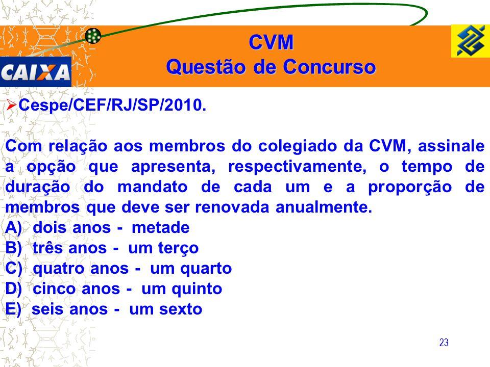 23  Cespe/CEF/RJ/SP/2010. Com relação aos membros do colegiado da CVM, assinale a opção que apresenta, respectivamente, o tempo de duração do mandato