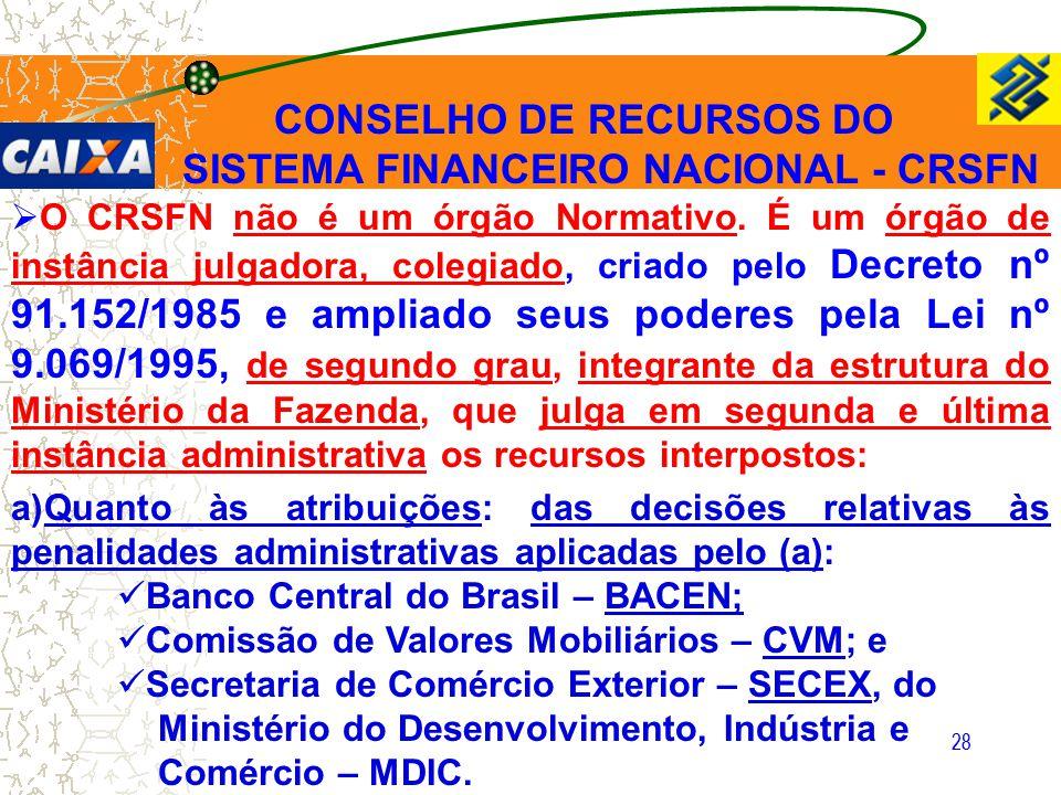 28 CONSELHO DE RECURSOS DO SISTEMA FINANCEIRO NACIONAL - CRSFN  O CRSFN não é um órgão Normativo. É um órgão de instância julgadora, colegiado, criad