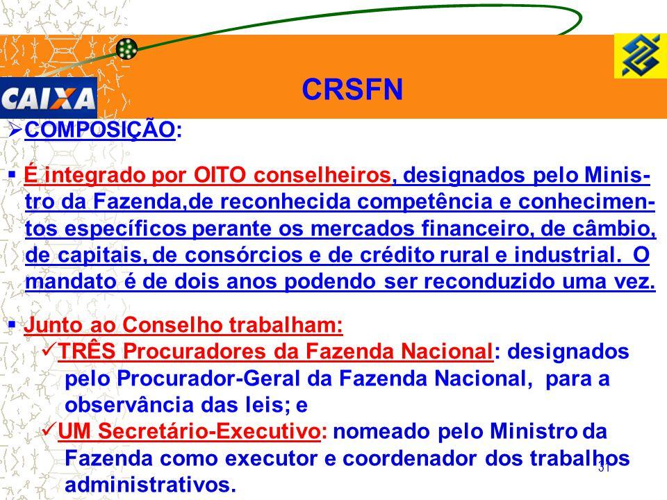 31 CRSFN  COMPOSIÇÃO:  É integrado por OITO conselheiros, designados pelo Minis- tro da Fazenda,de reconhecida competência e conhecimen- tos específ