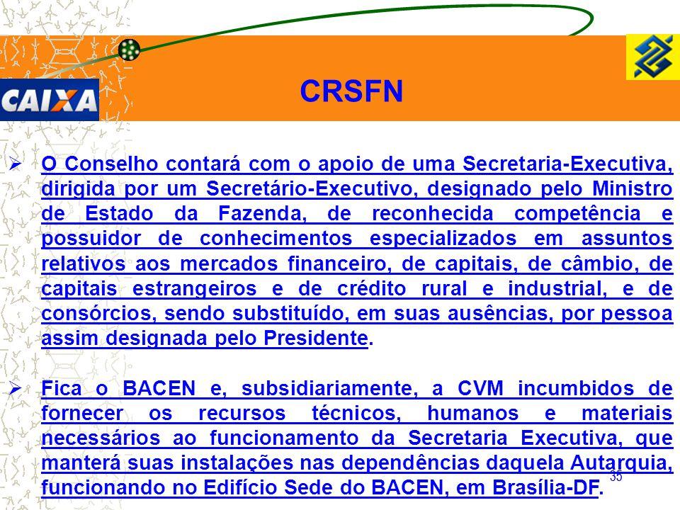 35 CRSFN  O Conselho contará com o apoio de uma Secretaria-Executiva, dirigida por um Secretário-Executivo, designado pelo Ministro de Estado da Faze