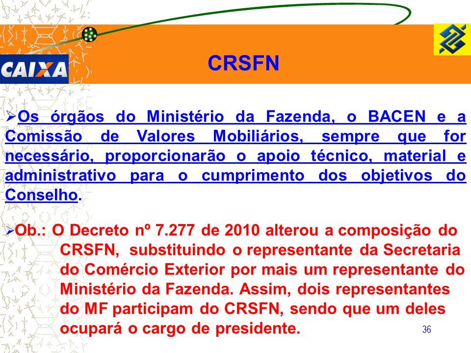 36 CRSFN  Os órgãos do Ministério da Fazenda, o BACEN e a Comissão de Valores Mobiliários, sempre que for necessário, proporcionarão o apoio técnico,