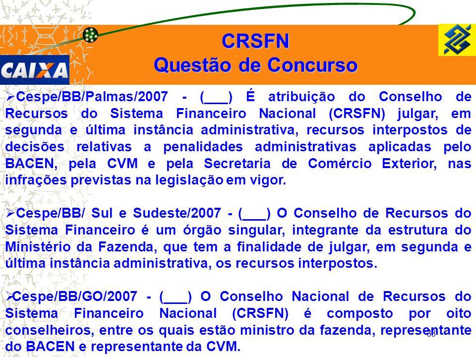 38  Cespe/BB/Palmas/2007 - (___) É atribuição do Conselho de Recursos do Sistema Financeiro Nacional (CRSFN) julgar, em segunda e última instância ad