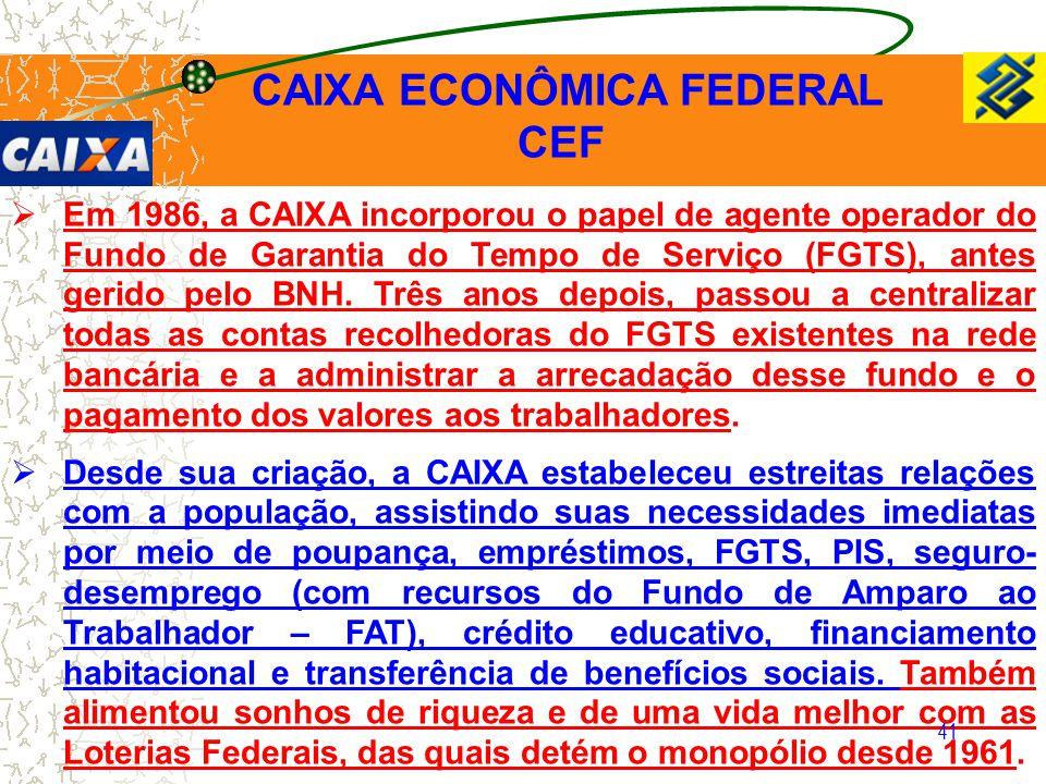 41  Em 1986, a CAIXA incorporou o papel de agente operador do Fundo de Garantia do Tempo de Serviço (FGTS), antes gerido pelo BNH. Três anos depois,