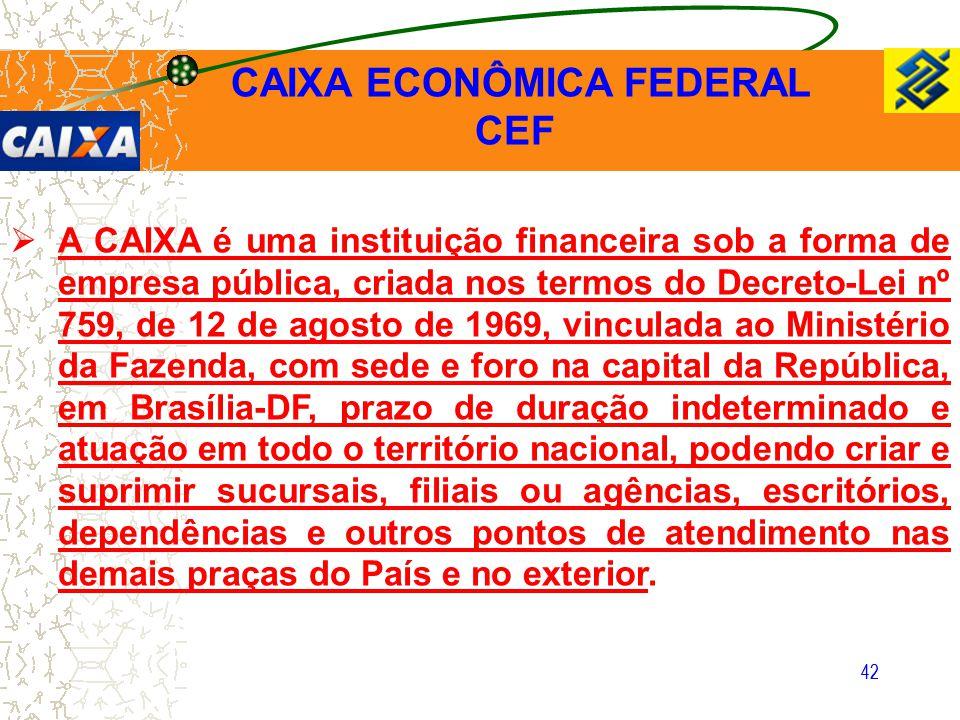 42  A CAIXA é uma instituição financeira sob a forma de empresa pública, criada nos termos do Decreto-Lei nº 759, de 12 de agosto de 1969, vinculada