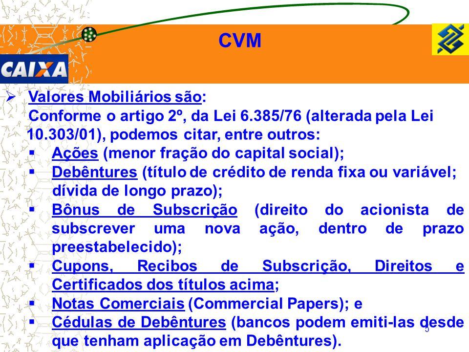 5 CVM  Valores Mobiliários são: Conforme o artigo 2º, da Lei 6.385/76 (alterada pela Lei 10.303/01), podemos citar, entre outros:  Ações (menor fraç