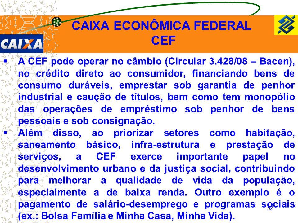 52  A CEF pode operar no câmbio (Circular 3.428/08 – Bacen), no crédito direto ao consumidor, financiando bens de consumo duráveis, emprestar sob gar