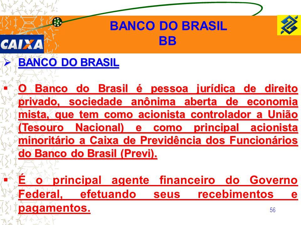 56  BANCO DO BRASIL  O Banco do Brasil é pessoa jurídica de direito privado, sociedade anônima aberta de economia mista, que tem como acionista cont
