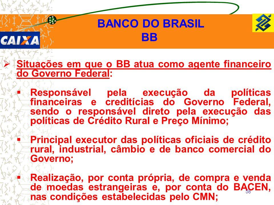 58  Situações em que o BB atua como agente financeiro do Governo Federal:  Responsável pela execução da políticas financeiras e creditícias do Gover