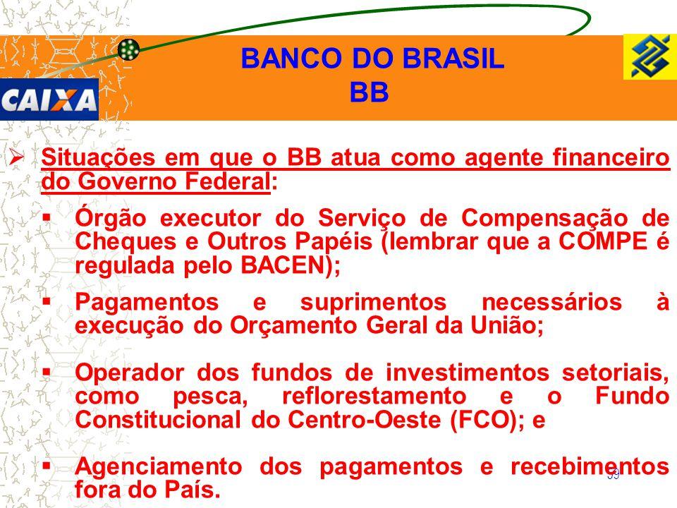 59  Situações em que o BB atua como agente financeiro do Governo Federal:  Órgão executor do Serviço de Compensação de Cheques e Outros Papéis (lemb