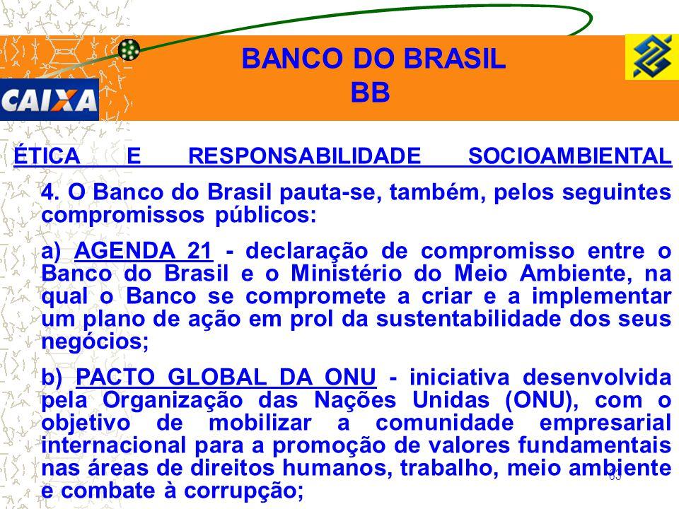 63 ÉTICA E RESPONSABILIDADE SOCIOAMBIENTAL 4. O Banco do Brasil pauta-se, também, pelos seguintes compromissos públicos: a) AGENDA 21 - declaração de