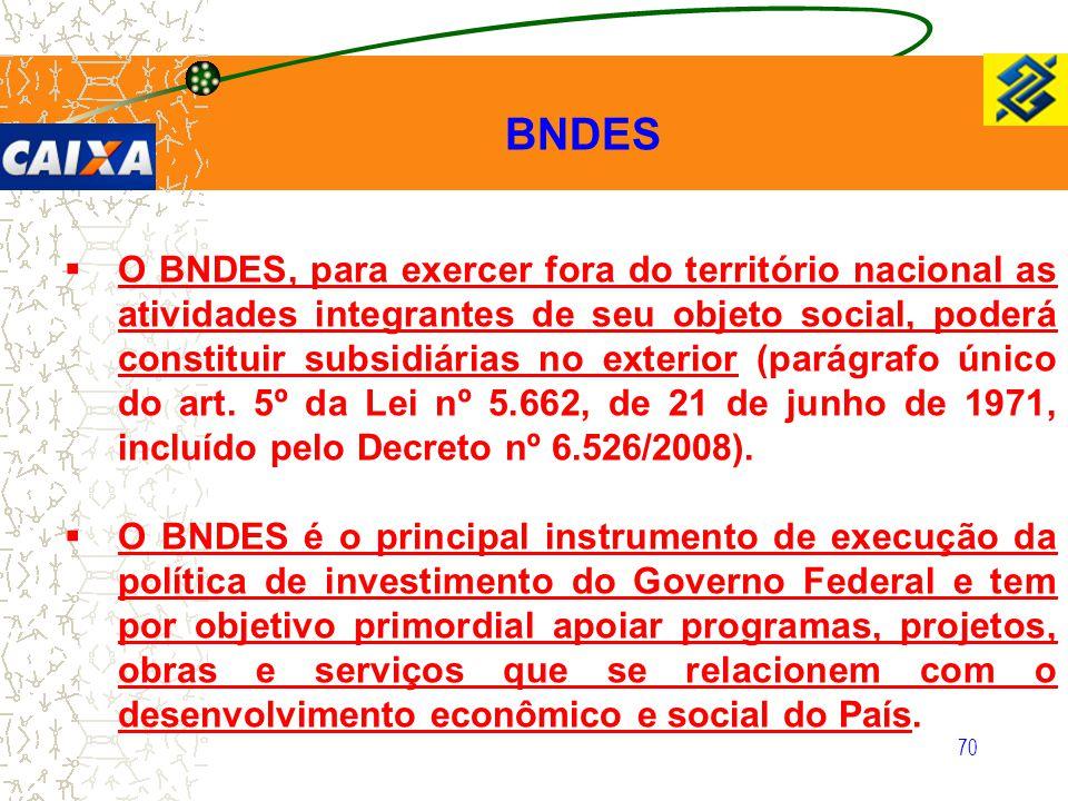 70  O BNDES, para exercer fora do território nacional as atividades integrantes de seu objeto social, poderá constituir subsidiárias no exterior (par