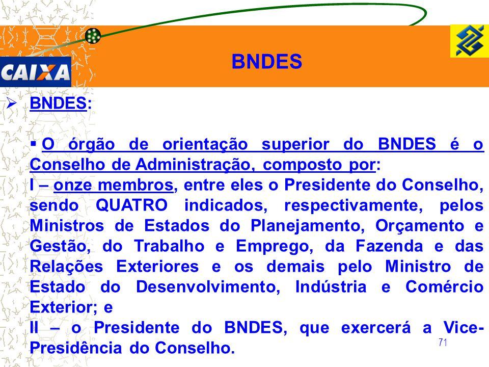 71  BNDES:  O órgão de orientação superior do BNDES é o Conselho de Administração, composto por: I – onze membros, entre eles o Presidente do Consel
