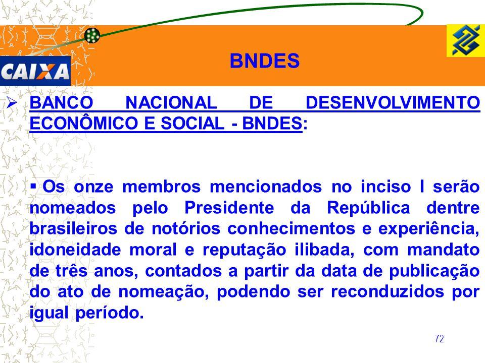 72  BANCO NACIONAL DE DESENVOLVIMENTO ECONÔMICO E SOCIAL - BNDES:  Os onze membros mencionados no inciso I serão nomeados pelo Presidente da Repúbli