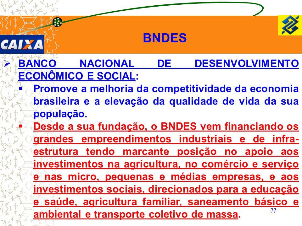 77  BANCO NACIONAL DE DESENVOLVIMENTO ECONÔMICO E SOCIAL:  Promove a melhoria da competitividade da economia brasileira e a elevação da qualidade de