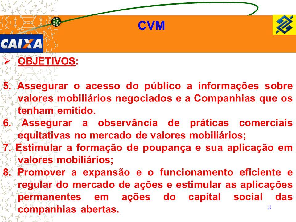 8 CVM  OBJETIVOS: 5. Assegurar o acesso do público a informações sobre valores mobiliários negociados e a Companhias que os tenham emitido. 6. Assegu