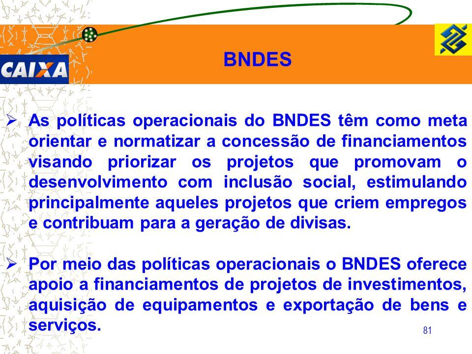 81  As políticas operacionais do BNDES têm como meta orientar e normatizar a concessão de financiamentos visando priorizar os projetos que promovam o