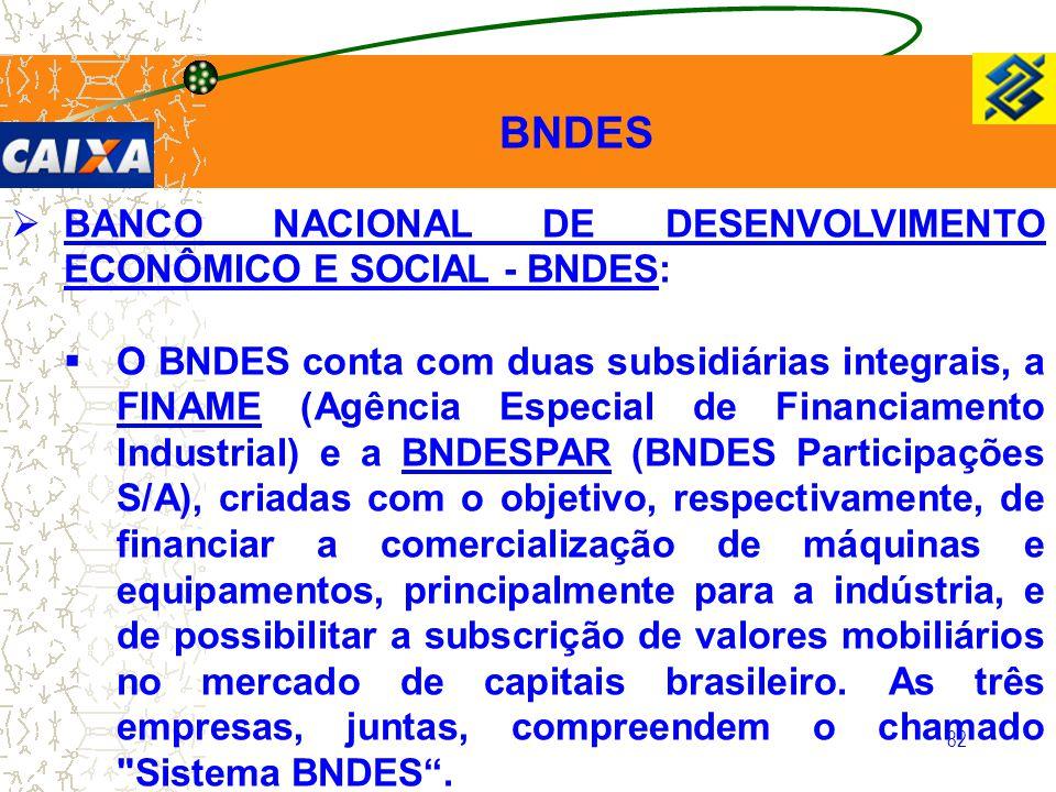 82  BANCO NACIONAL DE DESENVOLVIMENTO ECONÔMICO E SOCIAL - BNDES:  O BNDES conta com duas subsidiárias integrais, a FINAME (Agência Especial de Fina