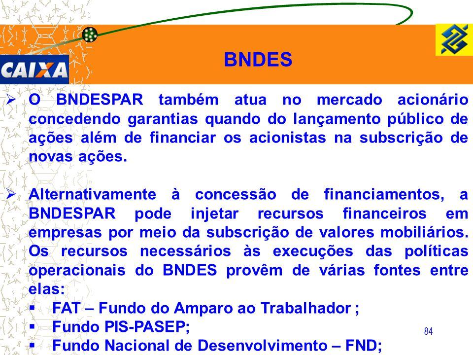 84  O BNDESPAR também atua no mercado acionário concedendo garantias quando do lançamento público de ações além de financiar os acionistas na subscri