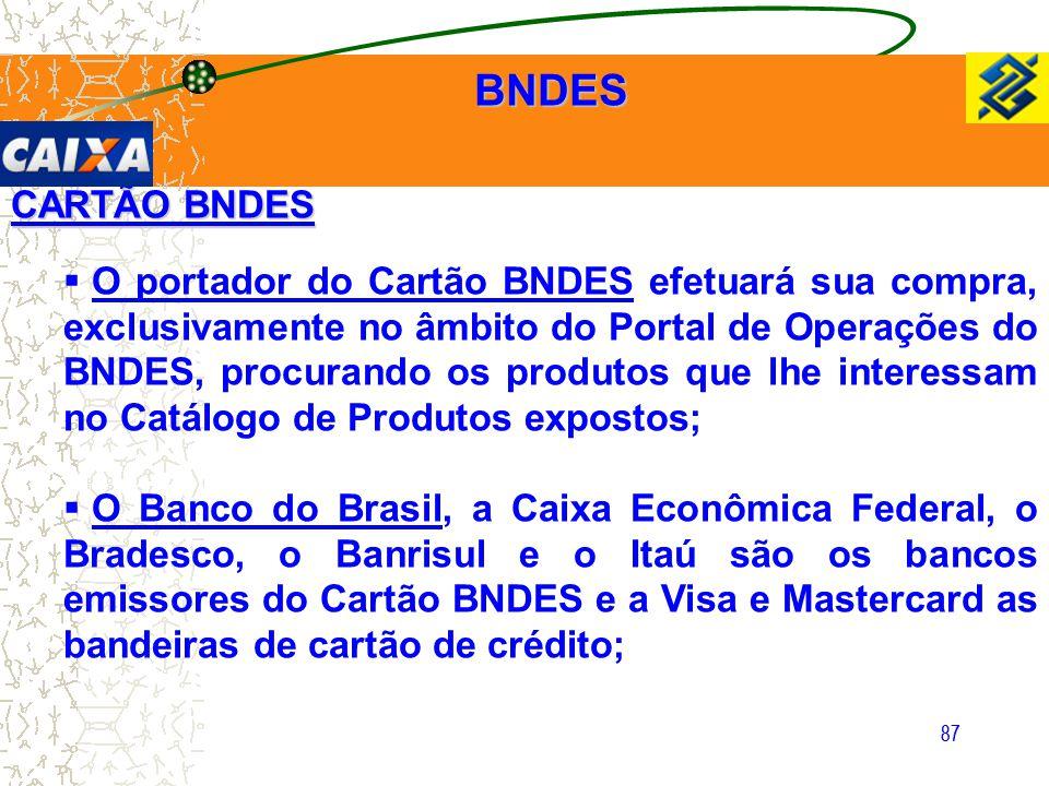87 CARTÃO BNDES  O portador do Cartão BNDES efetuará sua compra, exclusivamente no âmbito do Portal de Operações do BNDES, procurando os produtos que