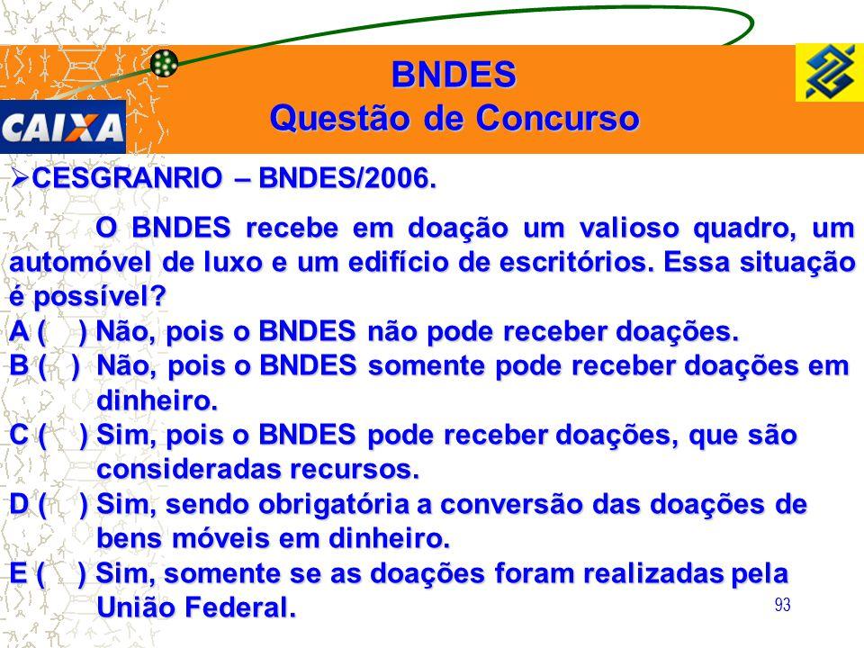 93  CESGRANRIO – BNDES/2006. O BNDES recebe em doação um valioso quadro, um automóvel de luxo e um edifício de escritórios. Essa situação é possível?