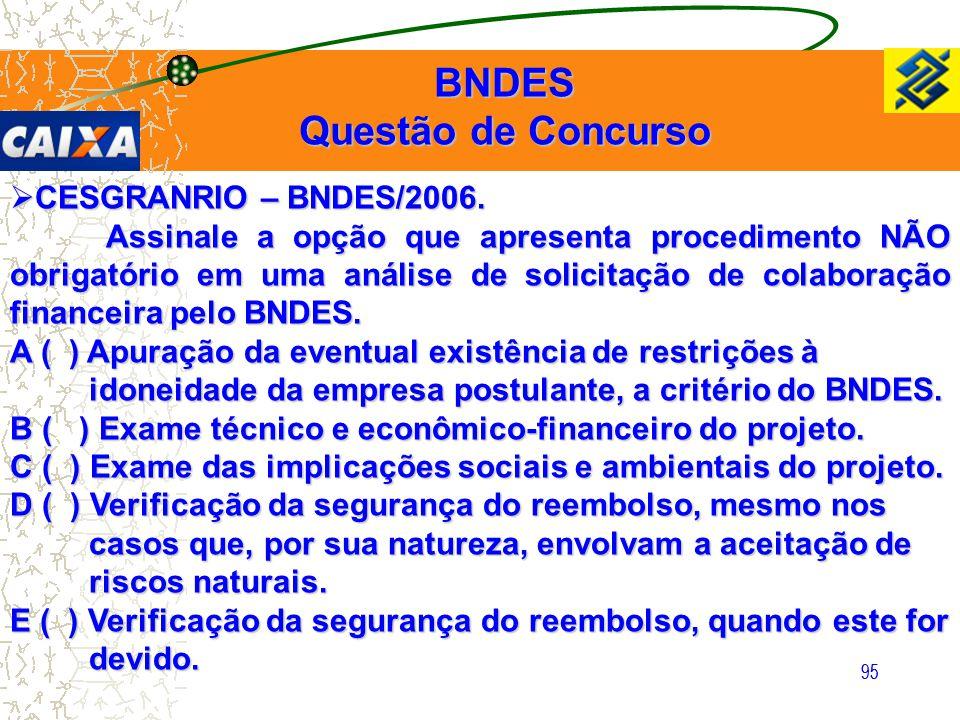 95  CESGRANRIO – BNDES/2006. Assinale a opção que apresenta procedimento NÃO obrigatório em uma análise de solicitação de colaboração financeira pelo