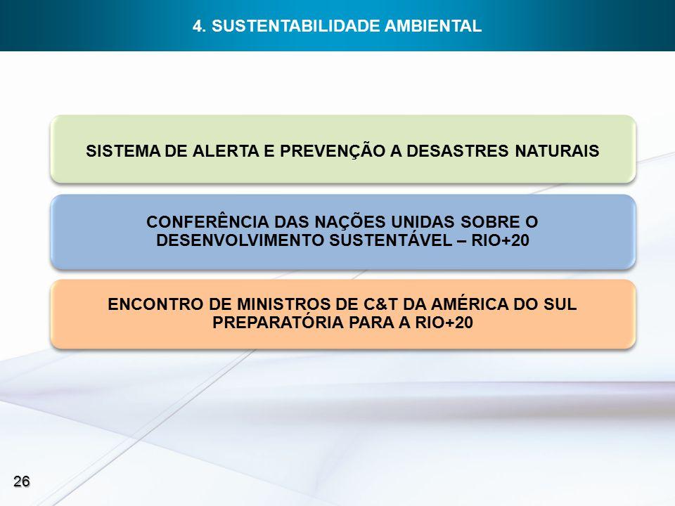 SISTEMA DE ALERTA E PREVENÇÃO A DESASTRES NATURAIS CONFERÊNCIA DAS NAÇÕES UNIDAS SOBRE O DESENVOLVIMENTO SUSTENTÁVEL – RIO+20 ENCONTRO DE MINISTROS DE C&T DA AMÉRICA DO SUL PREPARATÓRIA PARA A RIO+20 26 4.