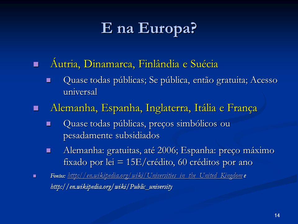 14 E na Europa.