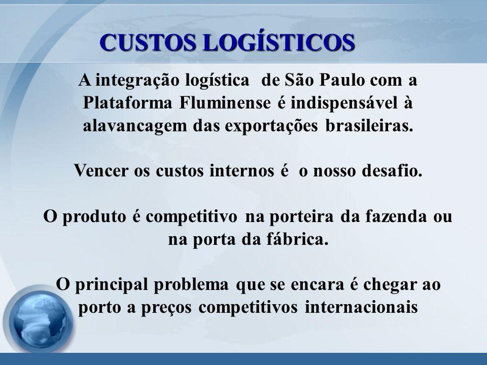 A integração logística de São Paulo com a Plataforma Fluminense é indispensável à alavancagem das exportações brasileiras.