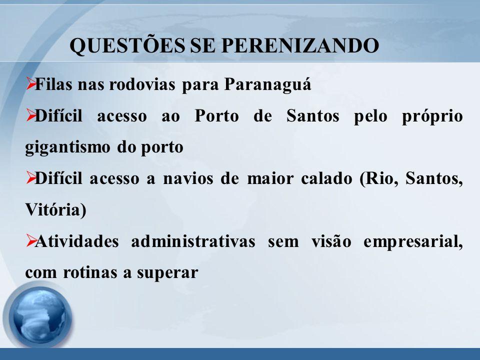  Filas nas rodovias para Paranaguá  Difícil acesso ao Porto de Santos pelo próprio gigantismo do porto  Difícil acesso a navios de maior calado (Rio, Santos, Vitória)  Atividades administrativas sem visão empresarial, com rotinas a superar QUESTÕES SE PERENIZANDO