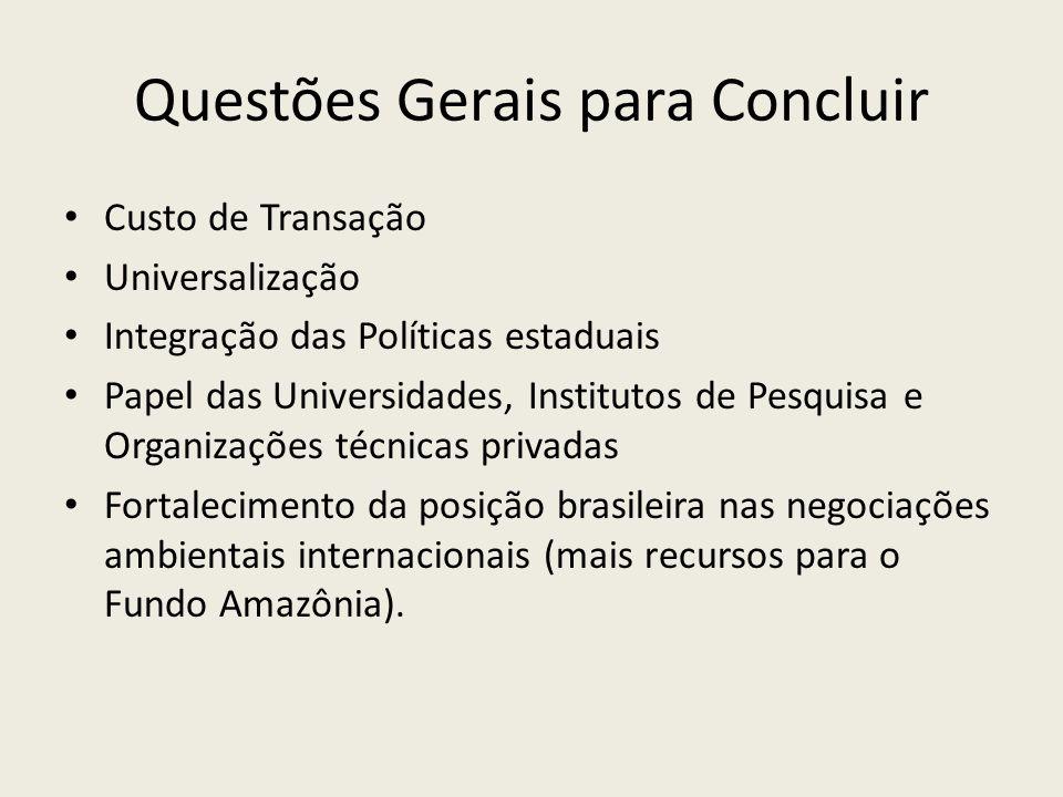 Questões Gerais para Concluir Custo de Transação Universalização Integração das Políticas estaduais Papel das Universidades, Institutos de Pesquisa e Organizações técnicas privadas Fortalecimento da posição brasileira nas negociações ambientais internacionais (mais recursos para o Fundo Amazônia).