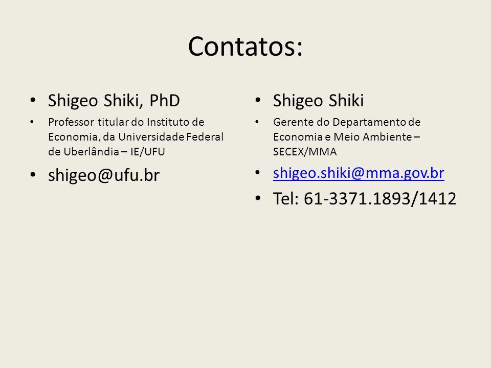 Contatos: Shigeo Shiki, PhD Professor titular do Instituto de Economia, da Universidade Federal de Uberlândia – IE/UFU shigeo@ufu.br Shigeo Shiki Gerente do Departamento de Economia e Meio Ambiente – SECEX/MMA shigeo.shiki@mma.gov.br Tel: 61-3371.1893/1412